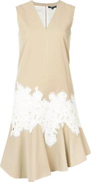 Sleeveless V Neck Dress With Lace Detail