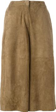 1972 Cropped Pants Women Suede 40, Brown