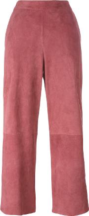 1972 Panelled Cropped Trousers Women Leather 38, Pinkpurple