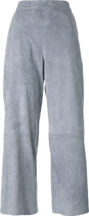 1972 Panelled Cropped Trousers Women Leather 40, Grey