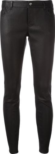 1972 Skinny Cropped Trousers Women Calf Leather 38, Black