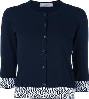 D.exterior Embroidered Cropped Cardigan Women Viscosepolyester M, Blue