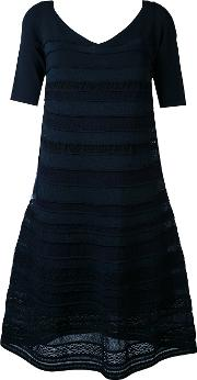 D.exterior Embroidered Flared Dress Women Cottonpolyamidepolyesterviscose L, Blue
