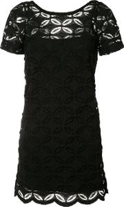D.exterior Floral Embroidered Shift Dress Women Cottonspandexelastaneviscosepolyimide M, Black
