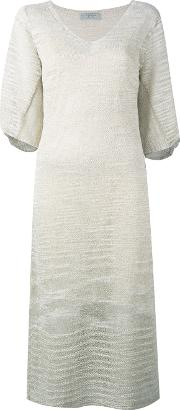 D.exterior Knitted V Neck Dress Women Linenflaxpolyamidepolyester S, Nudeneutrals