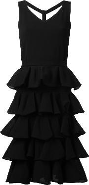 D.exterior Pleated Trim Flared Dress Women Cottonnylonpolyesterviscose L, Women's, Black