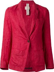 Notched Lapel Blazer Women Linenflax M, Red