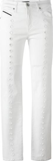 Embroidered Details Jeans Women Cottonspandexelastane 27, White
