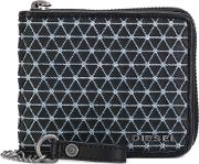 Chain Pattern Zipped Wallet Men Cottonleatherpolyurethane One Size, Black