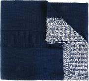 Contrast Edge Scarf Men Acrylic One Size, Blue
