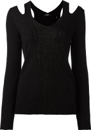 Cut Off Shoulder Knitted Blouse Women Acrylicnylonpolyesterwool M, Black