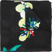 Diesel Floral Embroidered Scarf Men Viscose One Size, Black