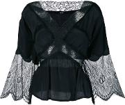 Flared Lace Panel Blouse