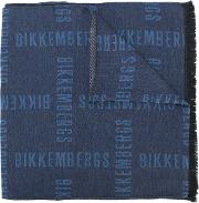 Dirk Bikkembergs Slogan Print Scarf Men Polyesterviscose One Size, Blue