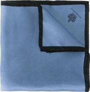Crown Print Pocket Square Men Silk One Size, Blue
