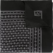 Diamond Print Pocket Square Men Silk One Size, Black