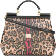 Leopard Sicily Top Handle Tote Women Calf Leather One Size, Brown