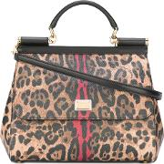 Leopard Sicily Top Handle Tote Women Calf Leather One Size, Women's, Brown
