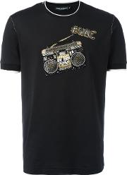 Music Crew Neck T Shirt Men Silkcottonpolyesterglass 48, Black