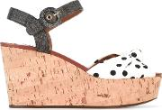 Polka Dot Wedge Sandals Women Corkcottonraffialeather 41