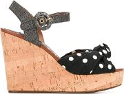Polka Dot Wedge Sandals Women Leathercottonviscosestraw 38, Black