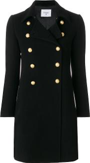 Dondup Double Breasted Coat Women Acetateviscosecashmerevirgin Wool 42, Black