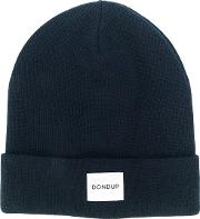 Dondup Logo Patch Knitted Beanie Men Acrylicwool One Size, Blue