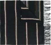 Ethnic Pattern Fringed Scarf Men Viscose One Size, Black