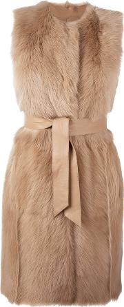 Sleeveless Belted Mid Length Coat Women Lamb Skinlamb Fur M, Women's, Nudeneutrals