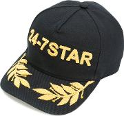 24 7 Star Embroidered Baseball Cap Men Cotton One Size, Black