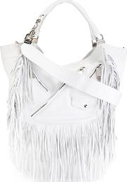 Babe Wire Fringed Hobo Bag Women Leather One Size, White