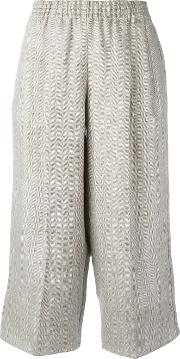 Cropped Trousers Women Linenflax M, Grey