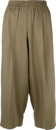 Cropped Trousers Women Silk S, Brown