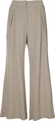 Flared Cropped Trousers Women Linenflax 42, Nudeneutrals