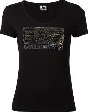 Embellished Logo T Shirt Women Cottonspandexelastane Xs, Women's, Black