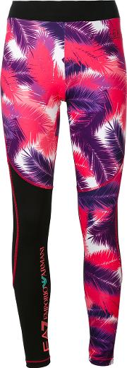 Palm Print Leggings Women Polyesterspandexelastane L, Black