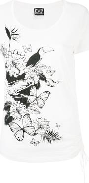 Tropical Print T Shirt Women Cotton Xs, White