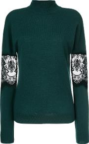 Each X Other Other Lace Turtle Neck Sweater Women Cashmerewool Xs, Green
