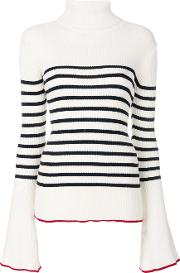 Each X Other Other Striped Turtle Neck Sweater Women Cotton S, White