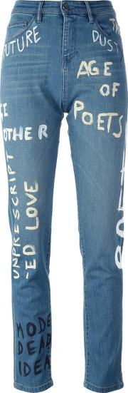 Other 'painted' Straight Leg Jeans Women Cottonspandexelastane 26, Blue