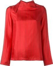 Other Pinstriped Blouse Women Silk L, Women's, Red