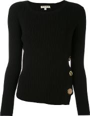Other Ribbed Knit Buttoned Sweater Women Cottonspandexelastane M, Black