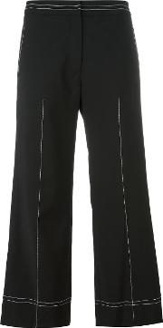 Other Wide Legged Cropped Trousers Women Wool L, Black