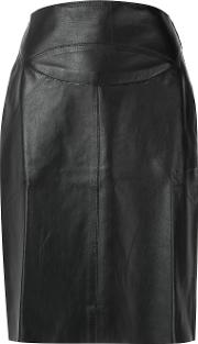 Leather Skirt Women Leather 40, Black