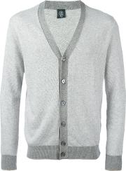 Contrast Cardigan Men Cotton M, Grey