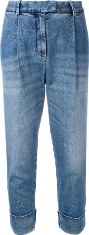 Drop Crotch Folded Hem Jeans Women Cottonspandexelastane 27, Blue