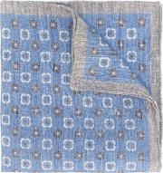 Printed Linen Scarf Men Linenflax One Size, Blue