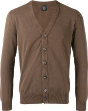 V Neck Cardigan Men Cotton L, Brown