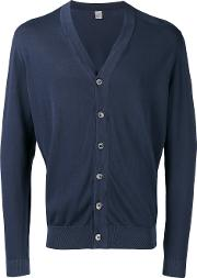 V Neck Cardigan Men Cotton S, Blue