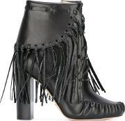 Fringed Ankle Boots Women Leatherrubber 39.5, Women's, Black